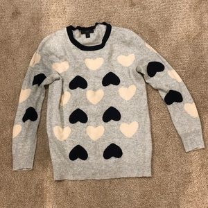 JCrew Wool Blend Sweater with Hearts
